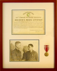 Frame with military medal